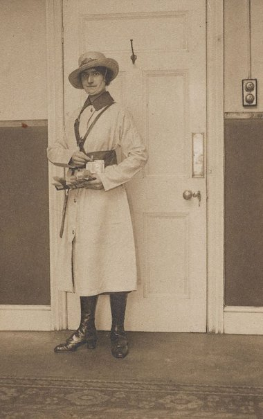 An image of Untitled (bus conductorette - in white coat) by Francis J Mortimer