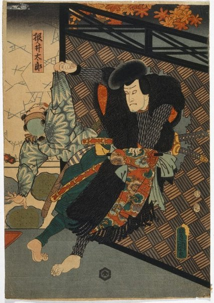 An image of Neno-i Taro fighting a guard by Utagawa Kunisada/Toyokuni III