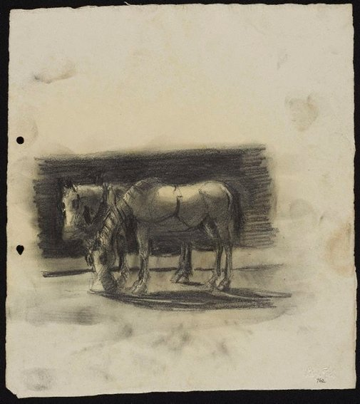 An image of Two cart horses by Lloyd Rees