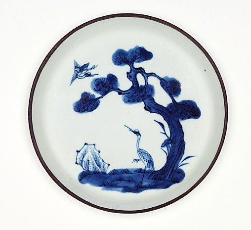An image of Bleu de Hue dish decorated with cranes and pine trees