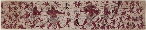 An image of Sacred heirloom textile cloth (ma'a) painted with a scene from the Ramayana by