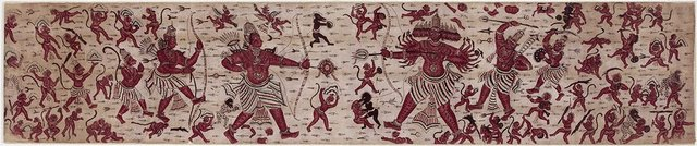An image of Sacred heirloom textile cloth (ma'a) painted with a scene from the Ramayana