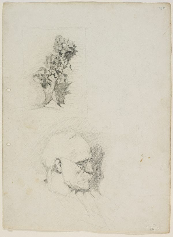 An image of Father, and a study of flowers in a vase