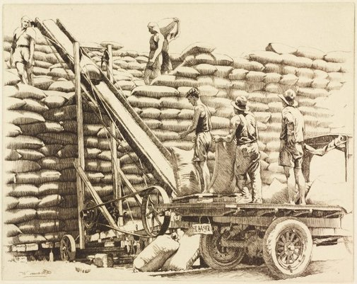 An image of Stacking wheat, New South Wales by E Warner