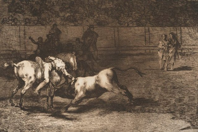 An image of Mariano Ceballas, alias the Indian, kills the bull from his horse