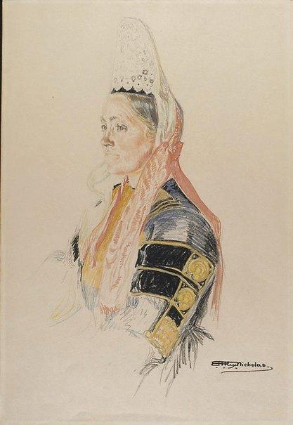 An image of Costume de Fête, Finistère by Hilda Rix Nicholas