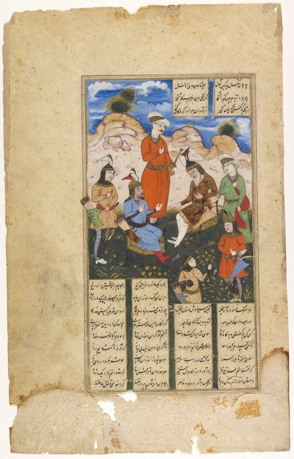 An image of Kings conversing with four columns of text written in nasta'liq script. Folio from Shahnameh ( Book of kings)
