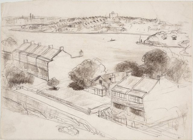 An image of Study for 'The harbour from McMahon's Point'