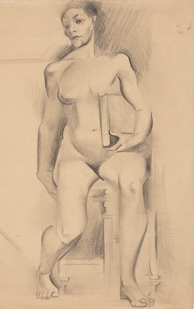 An image of (Figure study, nude holding a book) by Grace Crowley