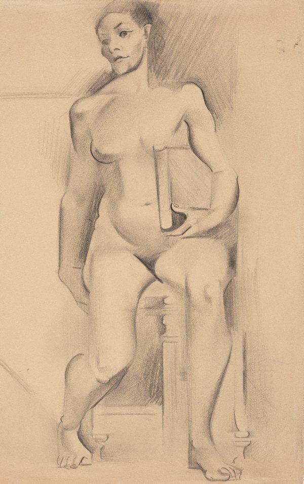An image of (Figure study, nude holding a book)