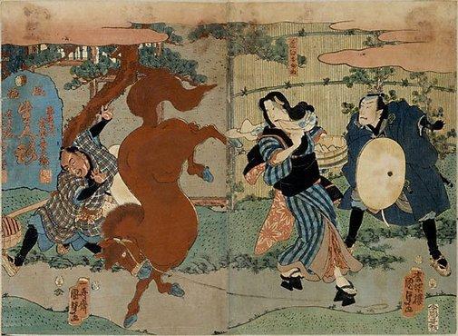An image of Life-size puppets: Okane of Omi appeasing a prancing horse by Utagawa Kunisada/Toyokuni III