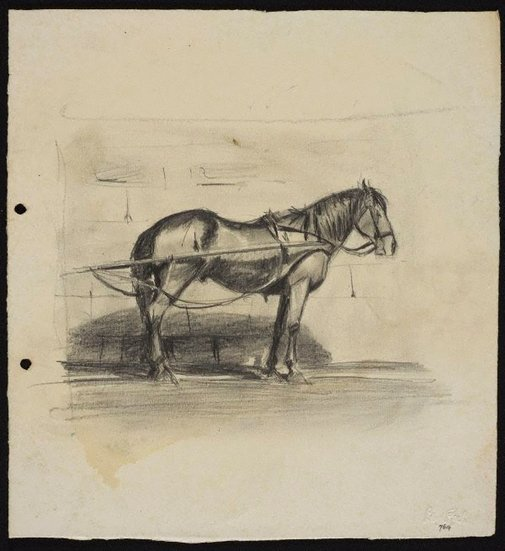 An image of Cab horse in traces by Lloyd Rees