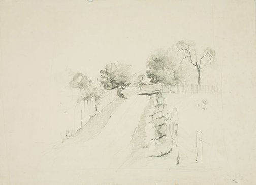 An image of recto: Country lane to house verso: Outline of a tree by Lloyd Rees