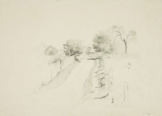An image of recto: Country lane to house verso: Outline of a tree