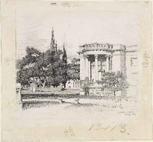 An image of Western facade of the Art Gallery of New South Wales by Lloyd Rees