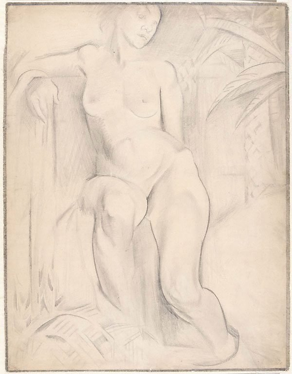 An image of Composition study: seated female nude