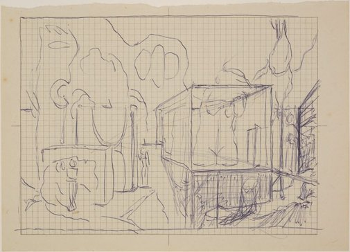 An image of Studies for 'Gardens of the night' (Compositional sketch) by James Gleeson