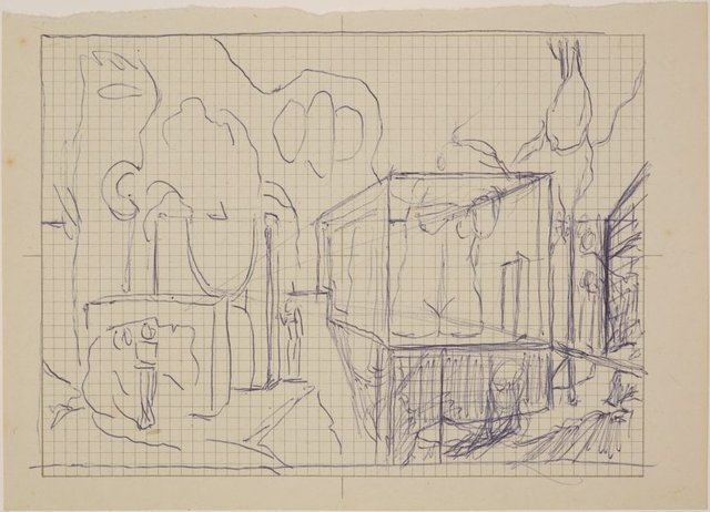 An image of Studies for 'Gardens of the night' (Compositional sketch)