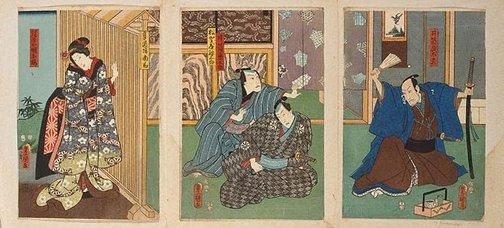 An image of (Kabuki scene - story of Izutsu Kumenosuke) by Utagawa Kunisada/Toyokuni III