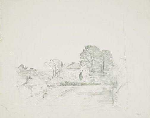 An image of recto: Two storey house verso: Fenced country road to a house by Lloyd Rees