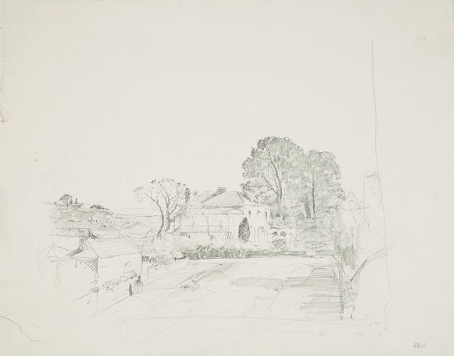 An image of recto: Two storey house verso: Fenced country road to a house