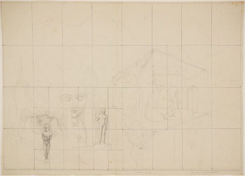 An image of Studies for 'Gardens of the night' (Large compositional sketch) by James Gleeson