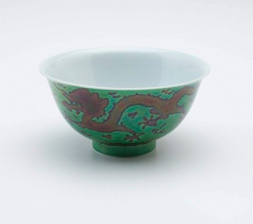 An image of Tea bowl decorated with incised dragons by Jingdezhen ware