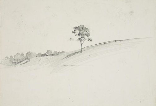 An image of Landscape with tree on a slope by Lloyd Rees