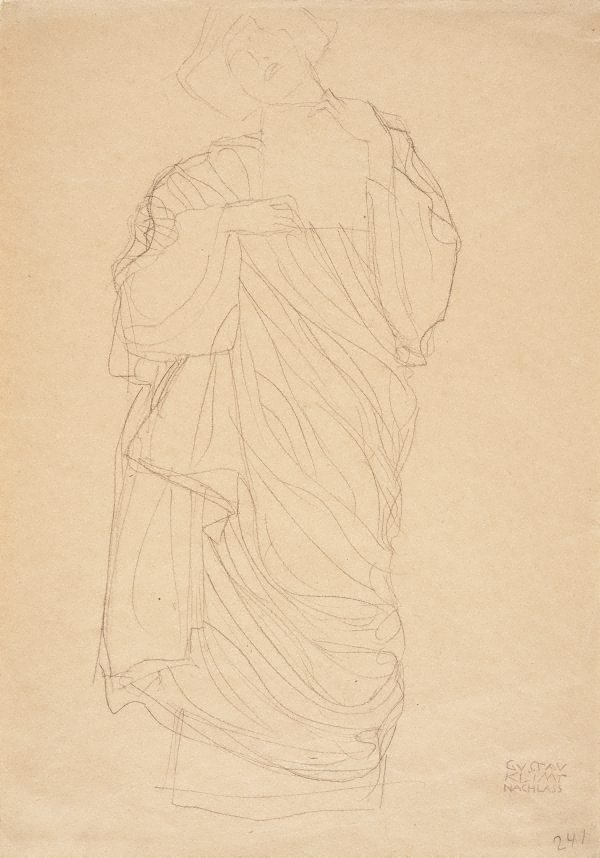 An image of Standing robed woman holding tablet (Study for Jurisprudence)