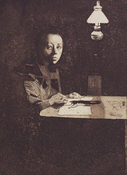 An image of Self-portrait at table by Käthe Kollwitz