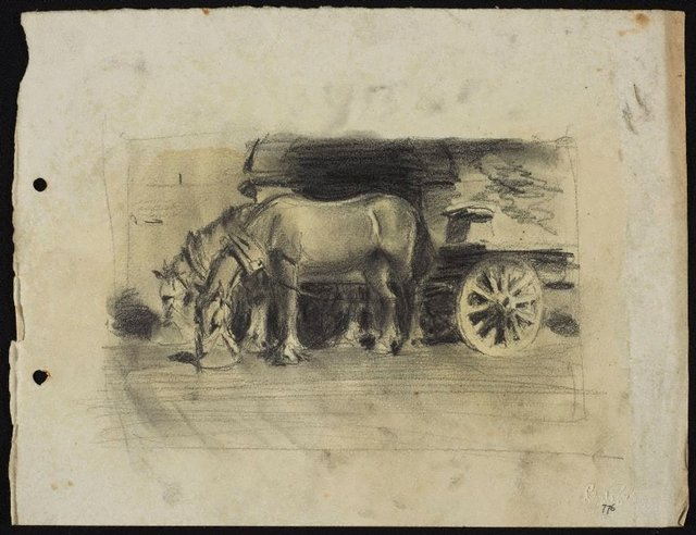 An image of recto: Two Clydesdales with dray verso: House front [sideways]