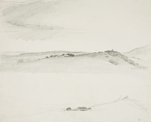 An image of Bare hilly landscape by Lloyd Rees