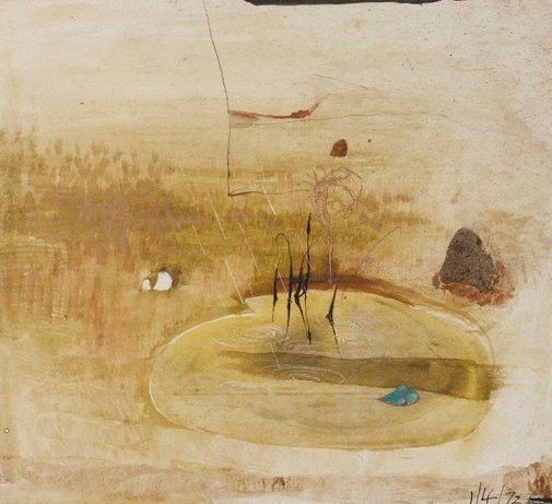 An image of Preliminary sketch for large cream landscape by Brett Whiteley
