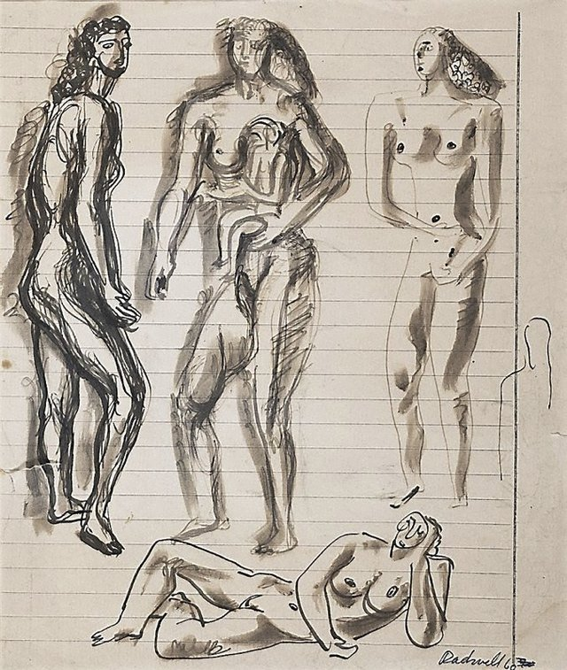 An image of recto: Figure studies verso: Study of a head (upside down)