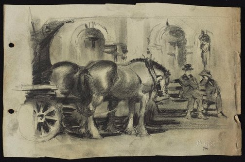 An image of Two Clydesdales with dray in Macquarie Place by Lloyd Rees