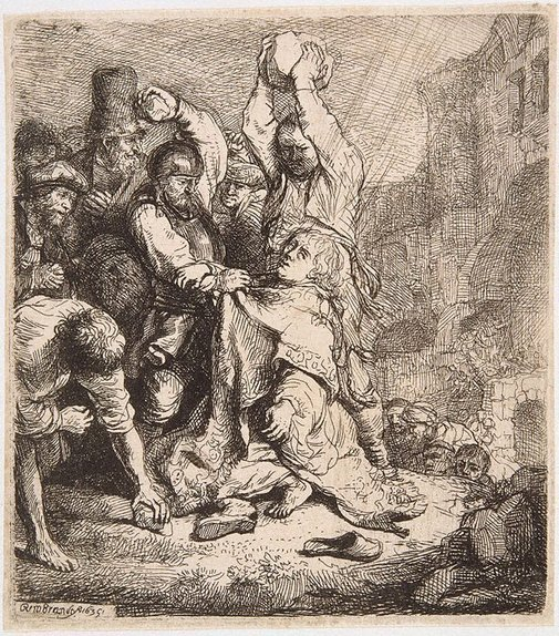 An image of The stoning of Saint Stephen by Rembrandt Harmensz. van Rijn