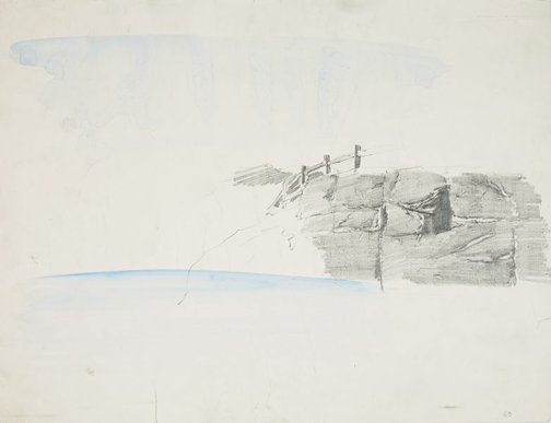 An image of Wooden fence on a cliff, Waverton by Lloyd Rees