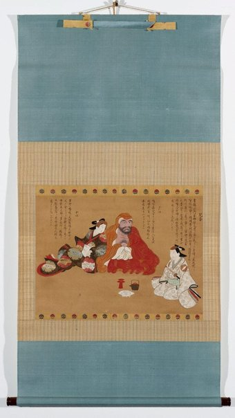 An image of (Daruma, samurai and courtesan) by Torii School