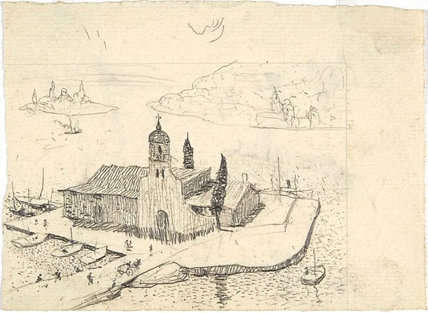 An image of recto: Drawing for soft-ground etching 'Monastery, Corfu' verso: Impression of soft-ground etching 'Plaza Soller Majorca'