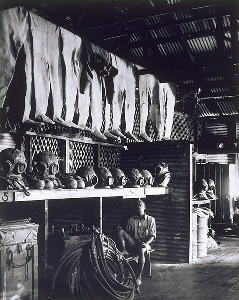 An image of Pearl divers' equipment store, Broome Western Australia by Axel Poignant