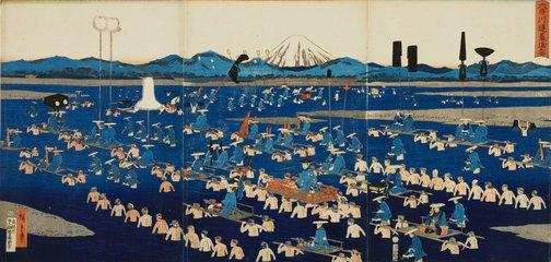 An image of Daimyo crossing Ôi river by Suzuki/Utagawa HIROSHIGE II Suzuki/Utagawa