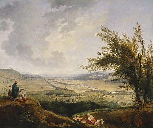 An image of An extensive landscape near Paris by Hubert Robert
