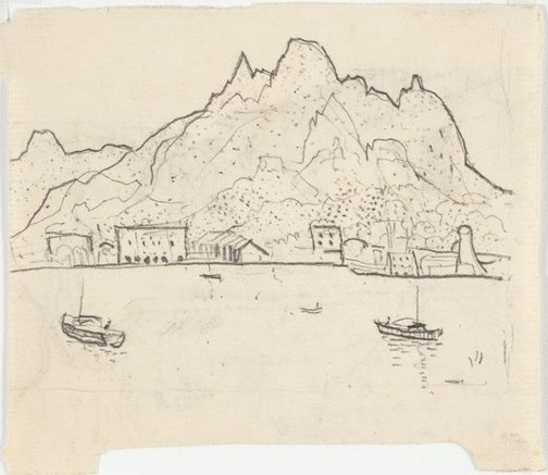An image of recto: Drawing for soft-ground etching 'Aden' verso: Impression of soft-ground etching 'Our home' in Majorca' by Lloyd Rees