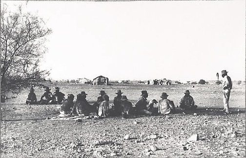 An image of Aboriginal stockmens' camp, Wave Hill cattle station, Central Australia by Axel Poignant