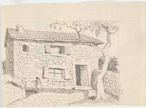 An image of recto: Drawing for soft-ground etching 'Majorca' verso: Impression of soft-ground etching 'Farm house, Majorca' by Lloyd Rees
