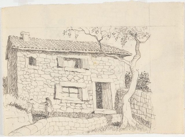 An image of recto: Drawing for soft-ground etching 'Majorca' verso: Impression of soft-ground etching 'Farm house, Majorca'