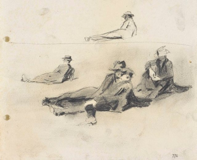 An image of recto: Men relaxing on the grass verso: Relaxing man
