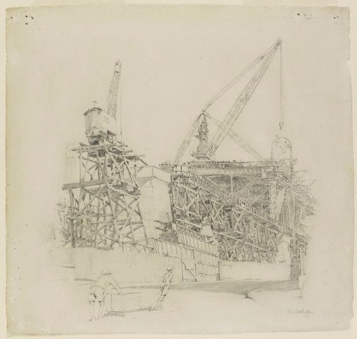 An image of Building the North Shore Bridge, Dawes Point by Fred Britton