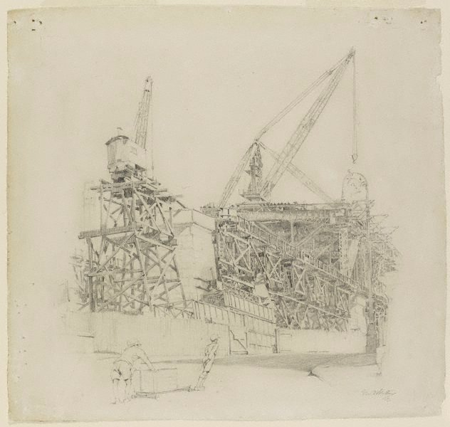 An image of Building the North Shore Bridge, Dawes Point