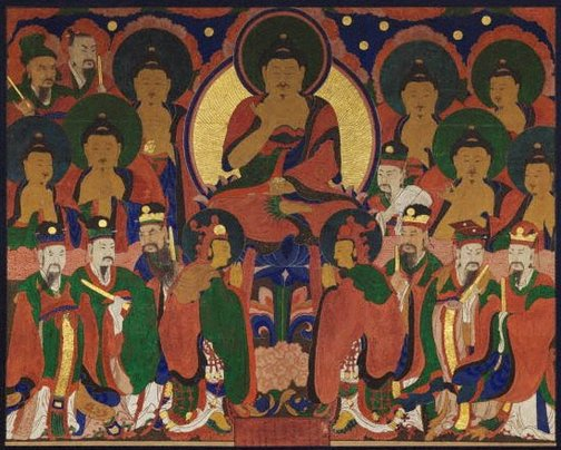 An image of Buddha Amitabha and his pantheon by